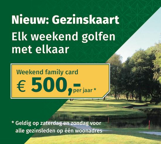 Gezinskaart Golfbaan Kralingen. Elk weekend golfen met het hele gezin coor slechts € 500,- per jaar.